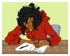 Belinda writing and re-writing, drawn by Worderella
