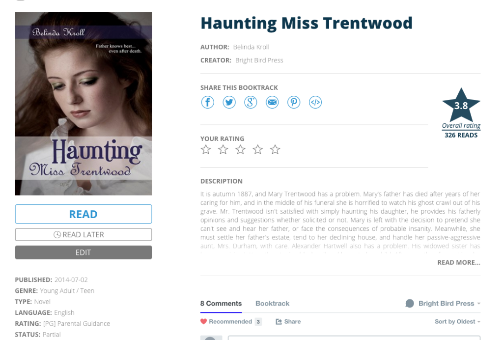 Haunting Miss Trentwood on Booktrack as of April 2015