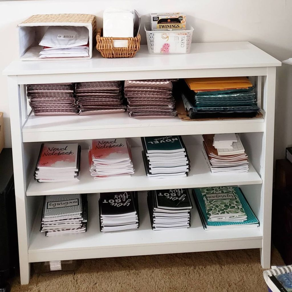Photo of my Etsy fulfillment sideboard
