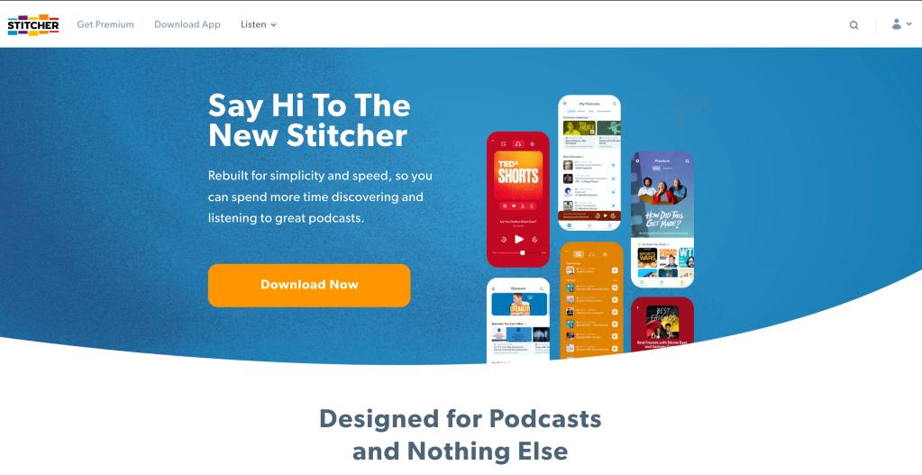 Screenshot of Stitcher.com home page